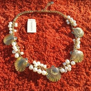 Talbots Golden Shell Faux Pearls Necklace